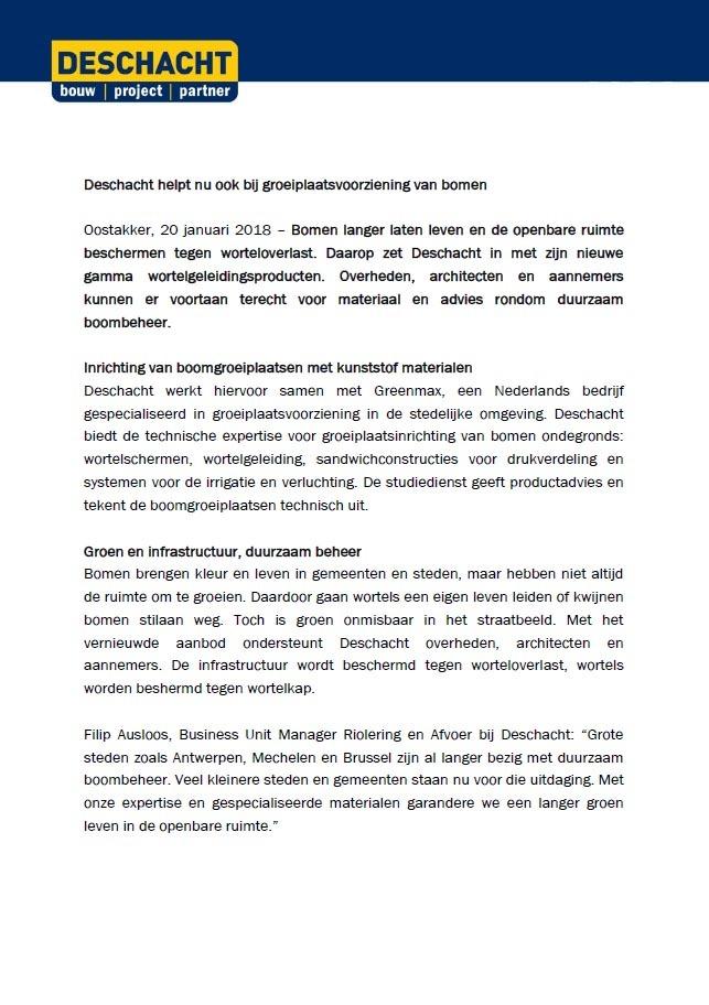 Pers Deschacht adviseert in groeiplaatsconstructies voor bomen