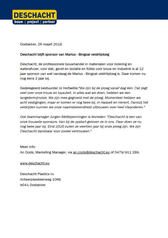 Pers Deschacht sponsort veldritploeg Marlux-Bingoal