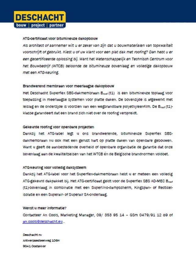 Persbericht - ATG voor Superflex SBS