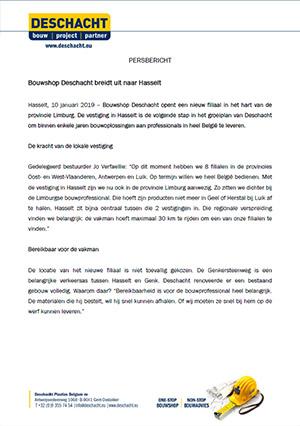 Persbericht nieuw Deschacht filiaal Hasselt