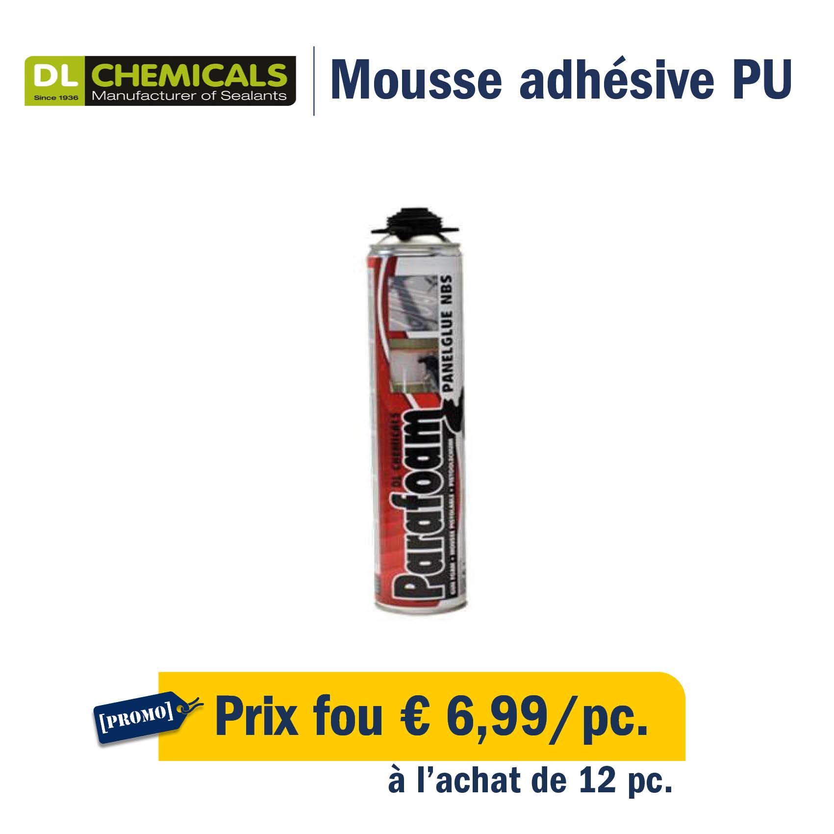 Mousse adhésive PU : prix fou €6,99/cartouche à l'achat de 12pc.