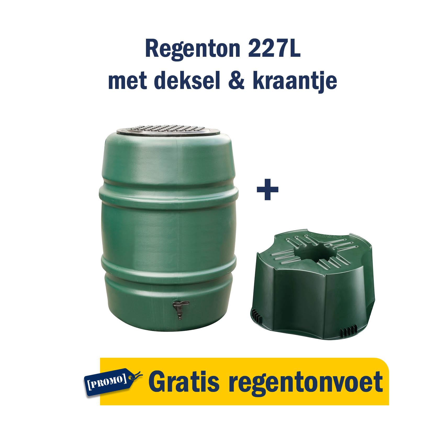 Regenton 227L + gratis regentonvoet