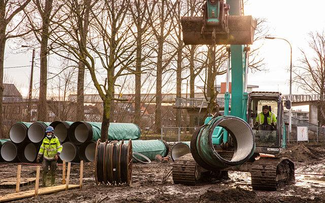 Nauwe samenwerking studiedienst en onderaannemer voor riolering nieuwbouw VTI te Brugge